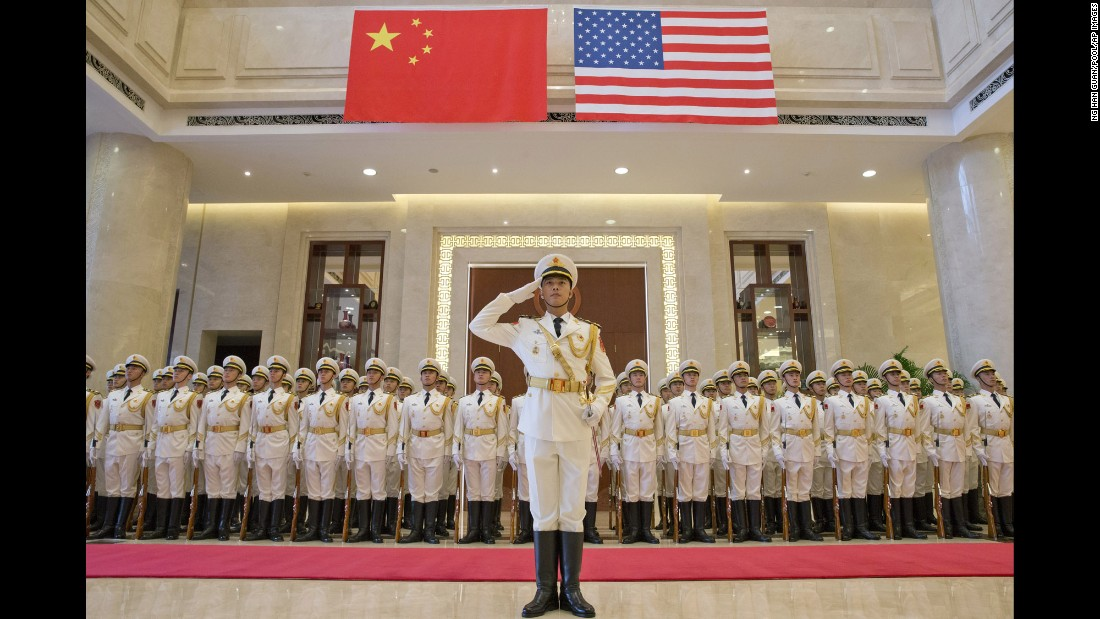 An honor guard in Beijing prepares to welcome Adm. John Richardson, the chief of U.S. naval operations, on Monday, July 18.