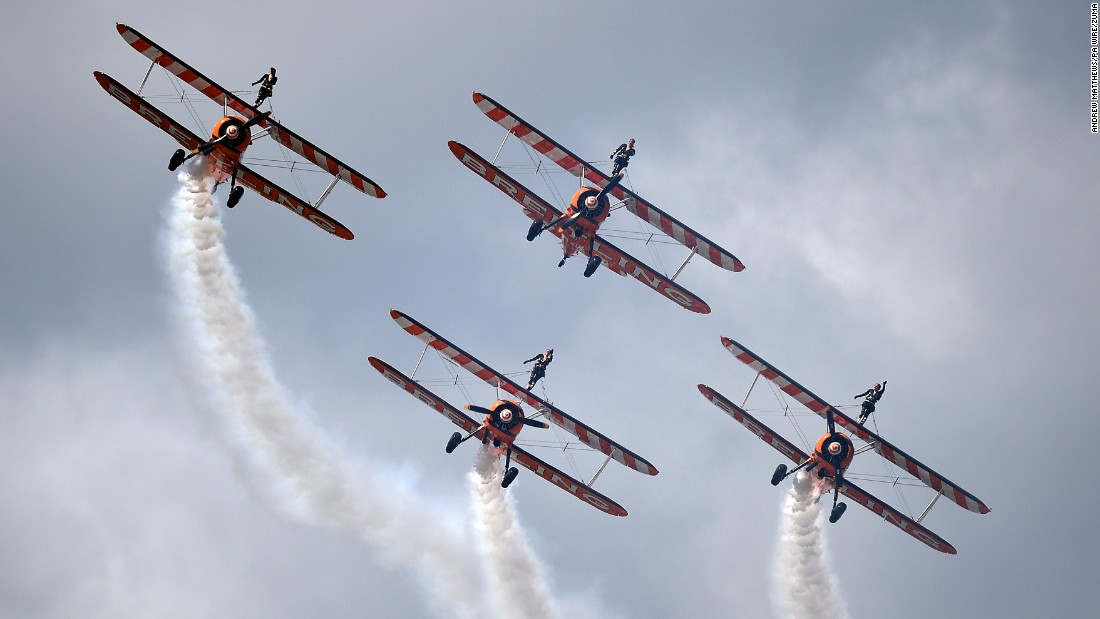 The Breitling Wingwalkers perform at an air show in Hampshire, England, on Saturday, July 16.