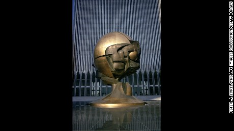 Sculptor Fritz Koenig's sphere in the main plaza of the World Trade Center towers in 1976.