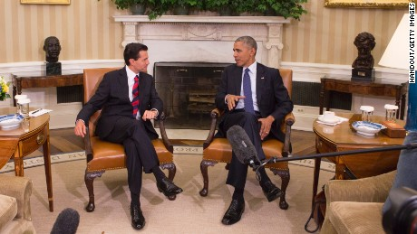 WASHINGTON, DC - JULY 22:  US President Barack Obama (R) meets with President Enrique Pena Nieto of Mexico at the White House on July 22, 2016 in Washington, DC. The two leaders also met last month at a summit for North American leaders in Canada.   (Photo by Chris Kleponis-Pool/Getty Images)