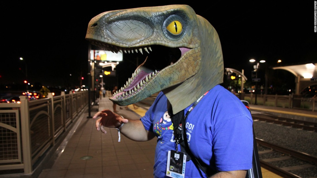 Manny Rios said he spent two months of weekends making his velociraptor costume.