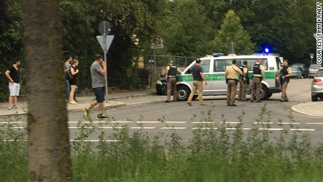 Timm Kraeft posted a photo from near the Munich mall where streets were blocked by police.