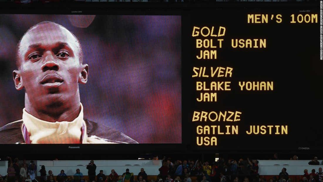 Bolt made it four Olympic gold medals out of four by winning the 100m final at London 2012, beating compatriot Yohan Blake and rival Justin Gatlin to the line.