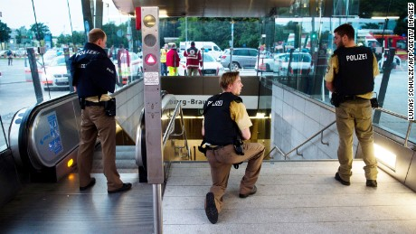 Police secures the entrance to a subway station near a shopping mall where a shooting took place on July 22, 2016 in Munich. Several people were killed on Friday in a shooting rampage by a lone gunman in a Munich shopping centre, media reports said / AFP / dpa / Lukas Schulze / Germany OUT        (Photo credit should read LUKAS SCHULZE/AFP/Getty Images)