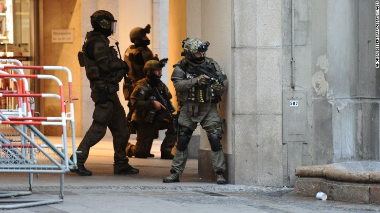 Police secures the area of a subway station Karlsplatz (Stachus) near a shopping mall following a shooting on July 22, 2016 in Munich. Several people were killed on Friday in a shooting rampage by a lone gunman in a Munich shopping centre, media reports said / AFP / dpa / Andreas Gebert / Germany OUT (Photo credit should read ANDREAS GEBERT/AFP/Getty Images)