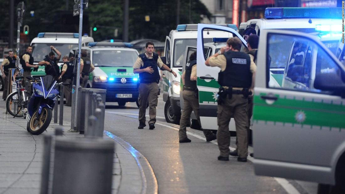 Police secure the area of Karlsplatz.