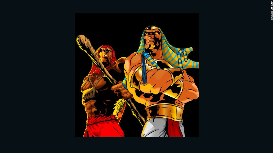 Unnamed Pharaoh is Egyptian who has been awakened from death by a cosmic event, and Wuzu is a Kenyan Masai warrior.