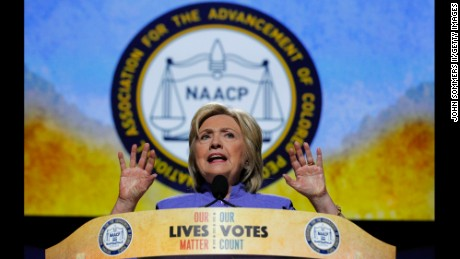 Democratic Presidential candidate Hillary Clinton addresses the crowd at the 107th Annual NAACP Convention at the Duke Energy Center July 18, 2016, in Cincinnati, Ohio. Hillary Clinton continued to campaign for the general election in November.