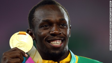 DAEGU, SOUTH KOREA - SEPTEMBER 04:  Usain Bolt of Jamaica poses with his gold medal during the medal ceremony for the men's 200 metres final during day nine of 13th IAAF World Athletics Championships at Daegu Stadium on September 4, 2011 in Daegu, South Korea.  (Photo by Mark Dadswell/Getty Images)