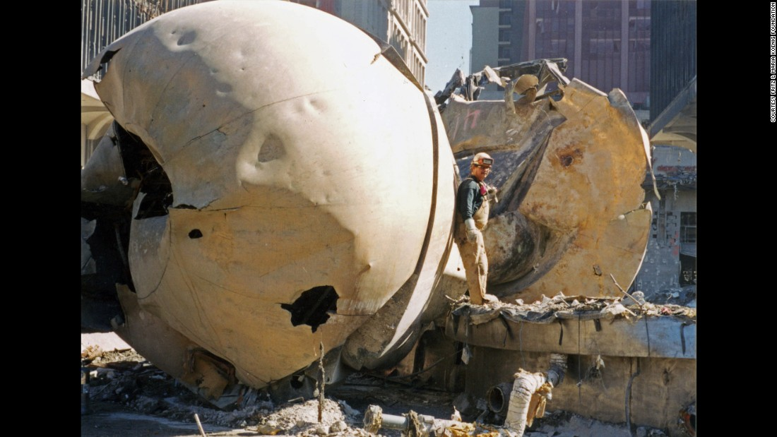 """The """"Sphere"""" was severely damaged in the September 11, 2001, terror attacks."""