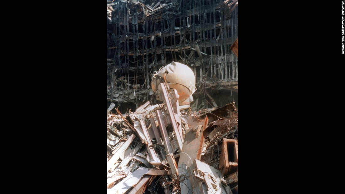 The damaged sphere was among the rubble at ground zero.