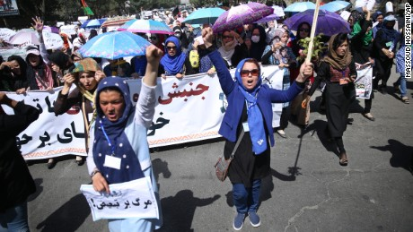 Thousands of ethnic Hazaras marched in Kabul on Saturday, July 23 demanding that a planned power line be rerouted through their poverty-stricken province.