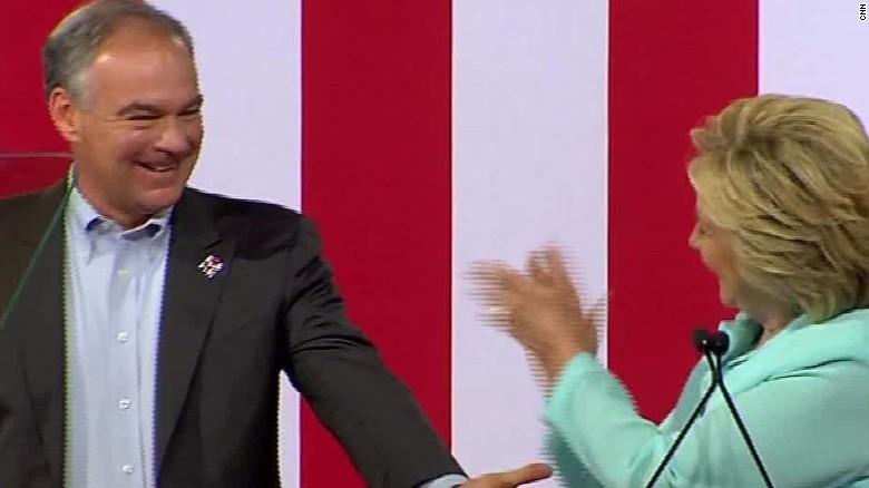 Hillary Clinton introduces VP Tim Kaine