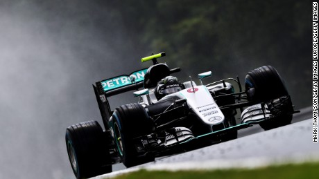 Nico Rosberg on track during qualifying for theGrand Prix of Hungary.