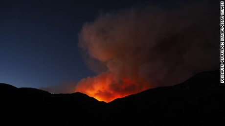 Sand Fire Burns in Santa Clarita on July 22 in Los Angeles County, California.