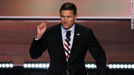 Retired Lt. Gen. Michael Flynn delivers a speech on the first day of the Republican National Convention on July 18, 2016 at the Quicken Loans Arena in Cleveland, Ohio.