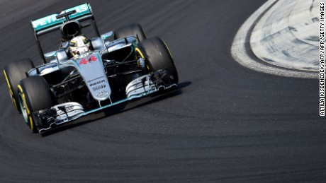 Lewis Hamilton races during tHungarian Grand Prix at the Hungaroring circuit.