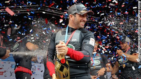 Ben Ainslie Celebrates victory with team Land Rover BAR at the America's Cup World Series in Portsmouth, England.
