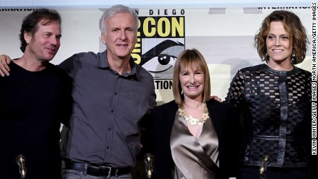 "SAN DIEGO, CA - JULY 23:  (L-R) Actor Bill Paxton, director James Cameron, producer Gale Anne Hurd, actors Sigourney Weaver, Paul Reiser, Carrie Henn, Michael Biehn, and Lance Henriksen attend the ""Aliens: 30th Anniversary"" panel during Comic-Con International 2016 at San Diego Convention Center on July 23, 2016 in San Diego, California.  (Photo by Kevin Winter/Getty Images)"