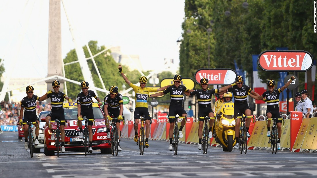 """Chris Froome wears the yellow jersey as he and the rest of Team Sky celebrate <a href=""""http://www.cnn.com/2016/07/24/sport/tour-de-france-2016/index.html"""" target=""""_blank"""">his Tour de France victory</a> on Sunday, July 24. It was the third career victory for Froome, a British rider who also won the Tour in 2013 and 2015."""