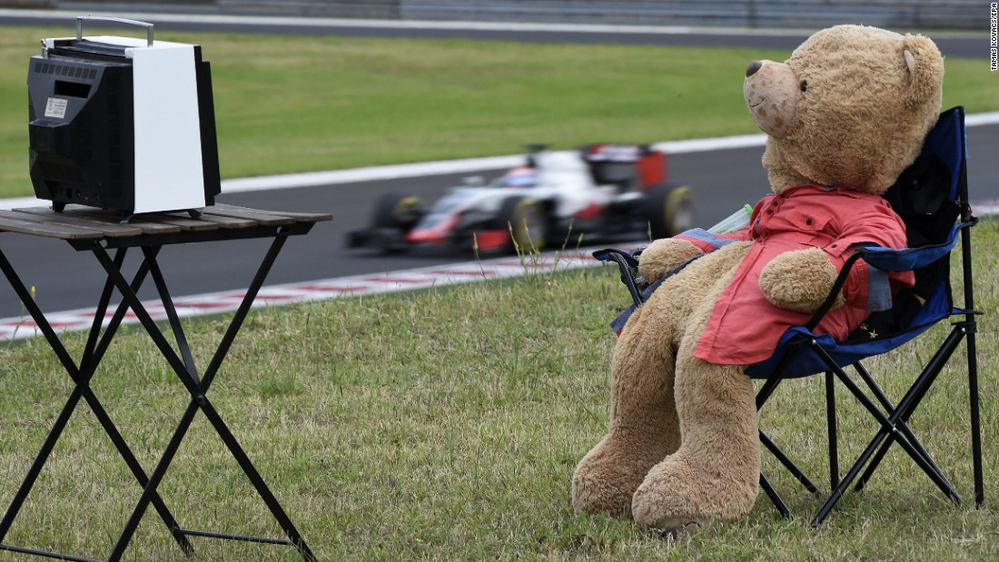 A teddy bear sits by the racetrack Friday, July 22, as practice takes place for the Formula One race in Hungary.
