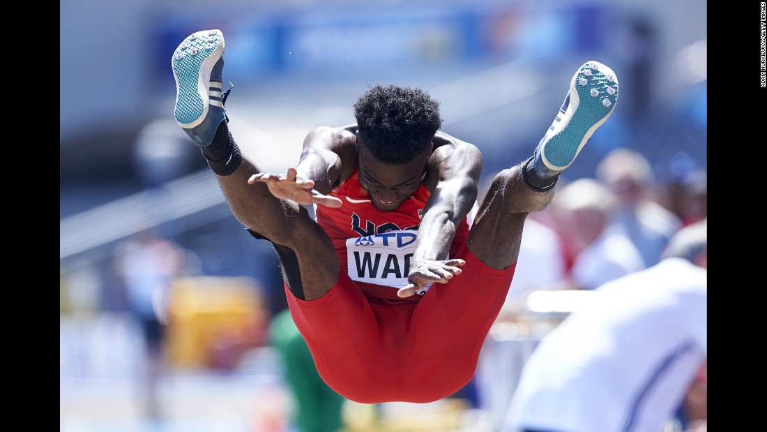 American long jumper Ja'Mari Ward competes at the Under-20 World Championships in Bydgoszcz, Poland, on Tuesday, July 19.