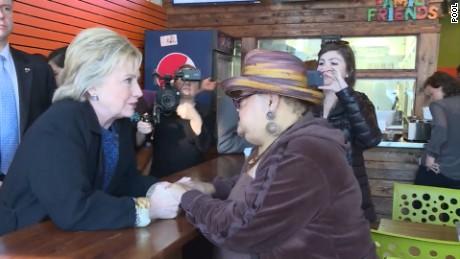 Hillary Clinton at Yo Mamas restaurant in Birmingham, Alabama on February 27.