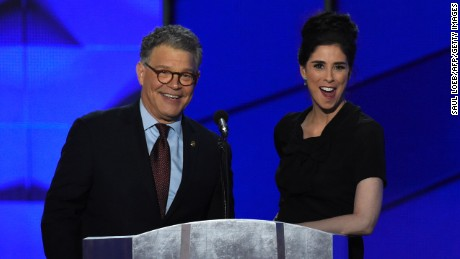 US Senator Al Franken (L) speaks as comedian Sarah Silverman gestures during Day 1 of the Democratic National Convention at the Wells Fargo Center in Philadelphia, Pennsylvania, July 25, 2016.