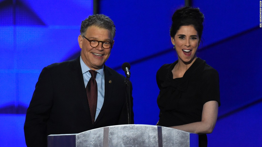 """U.S. Sen. Al Franken appears on stage with comedian Sarah Silverman. Franken, of course, has a comedic background as well, having once starred on """"Saturday Night Live."""""""