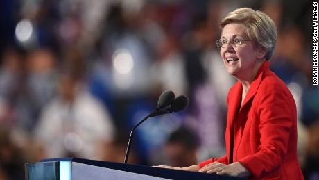 US Senator Elizabeth Warren speaks during Day 1 of the Democratic National Convention at the Wells Fargo Center in Philadelphia, Pennsylvania, July 25, 2016.