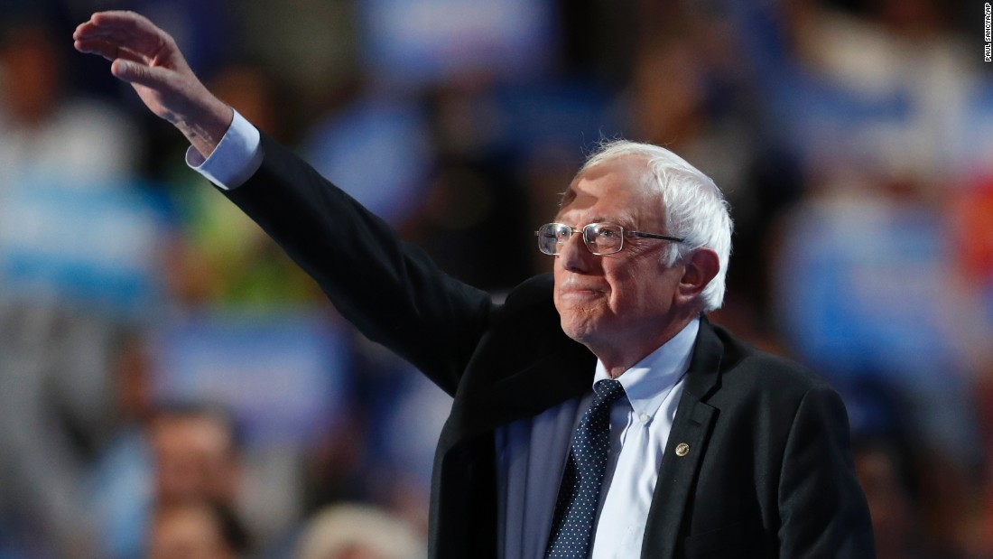 """Sanders spoke out against Republican nominee Donald Trump and said Clinton must become President. """"If you don't believe this election is important, if you think you can sit it out, take a moment to think about the Supreme Court justices that Donald Trump would nominate and what that would mean to civil liberties, equal rights and the future of our country,"""" Sanders said."""