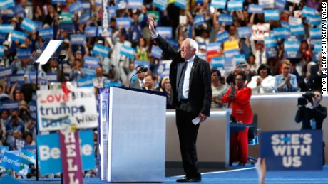 PHILADELPHIA, PA - JULY 25:  Sen. Bernie Sanders acknowledges the crowd before delivering remarks on the first day of the Democratic National Convention at the Wells Fargo Center, July 25, 2016 in Philadelphia, Pennsylvania. An estimated 50,000 people are expected in Philadelphia, including hundreds of protesters and members of the media. The four-day Democratic National Convention kicked off July 25.