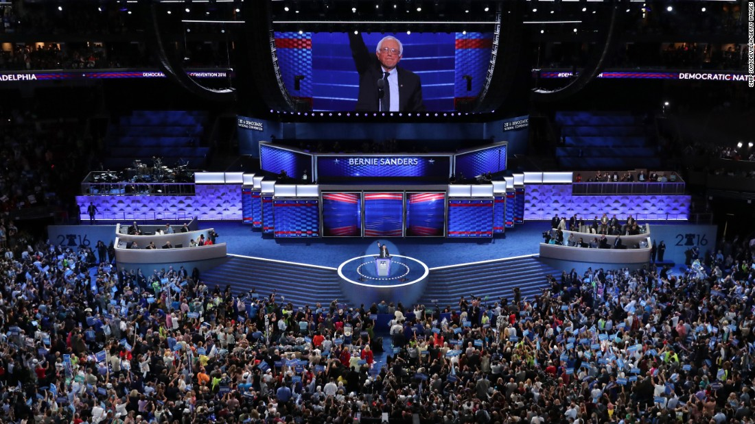 Sanders acknowledges the crowd at the Wells Fargo Center.