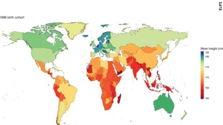 This map shows the distribution of the world's height, according to research published in eLife.