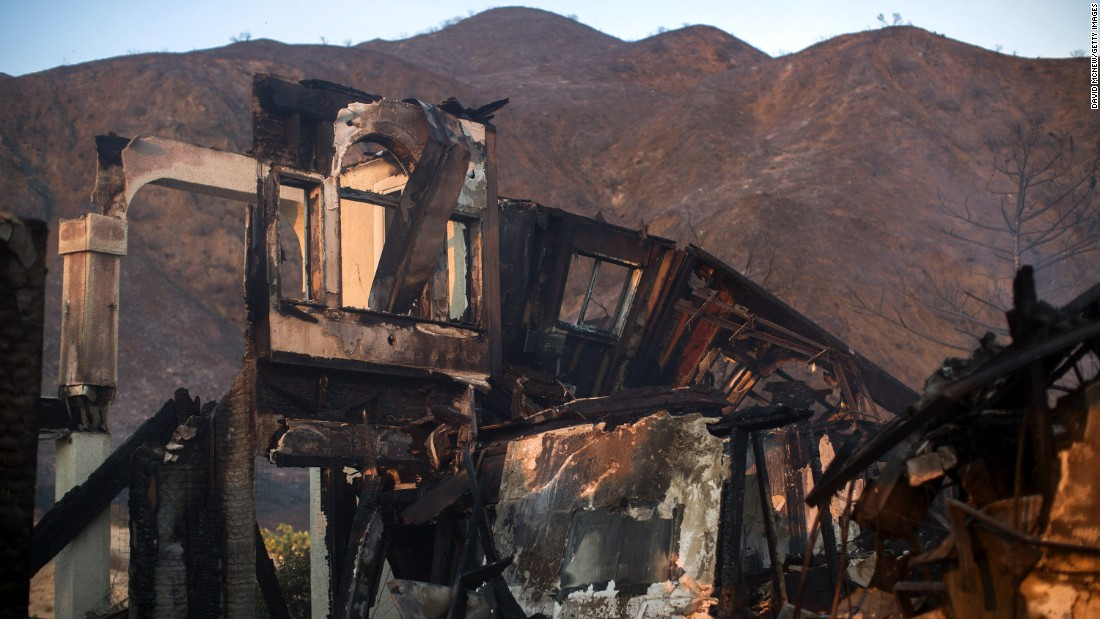 The ruins of a home destroyed by the blaze in Santa Clarita.