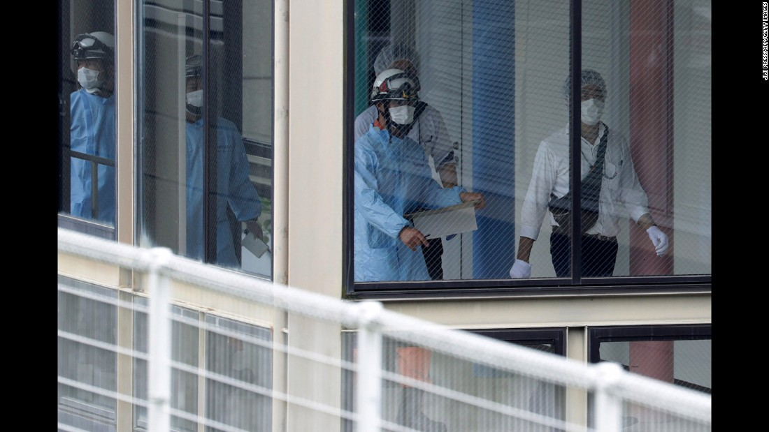 Following the attack, rescue personnel fill the facility, which is in Sagamihara, Kanagawa prefecture. More than 200 people work at the care center, but only nine -- one of whom was a security guard -- were on the premises when the incident occurred.