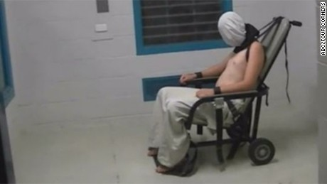 juvenile detainee is seen masked and shackled to a chair in the Don ...
