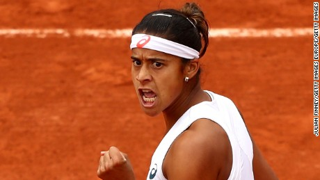 PARIS, FRANCE - MAY 26:  Teliana Pereira of Brazil reacts during the Ladies Singles second round match against Serena Williams of the United States on day five of the 2016 French Open at Roland Garros on May 26, 2016 in Paris, France.  (Photo by Julian Finney/Getty Images)