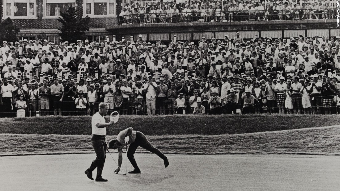 Nicklaus birdied the final hole to break the U.S. Open scoring record with a four-round total of five-under-par 275.