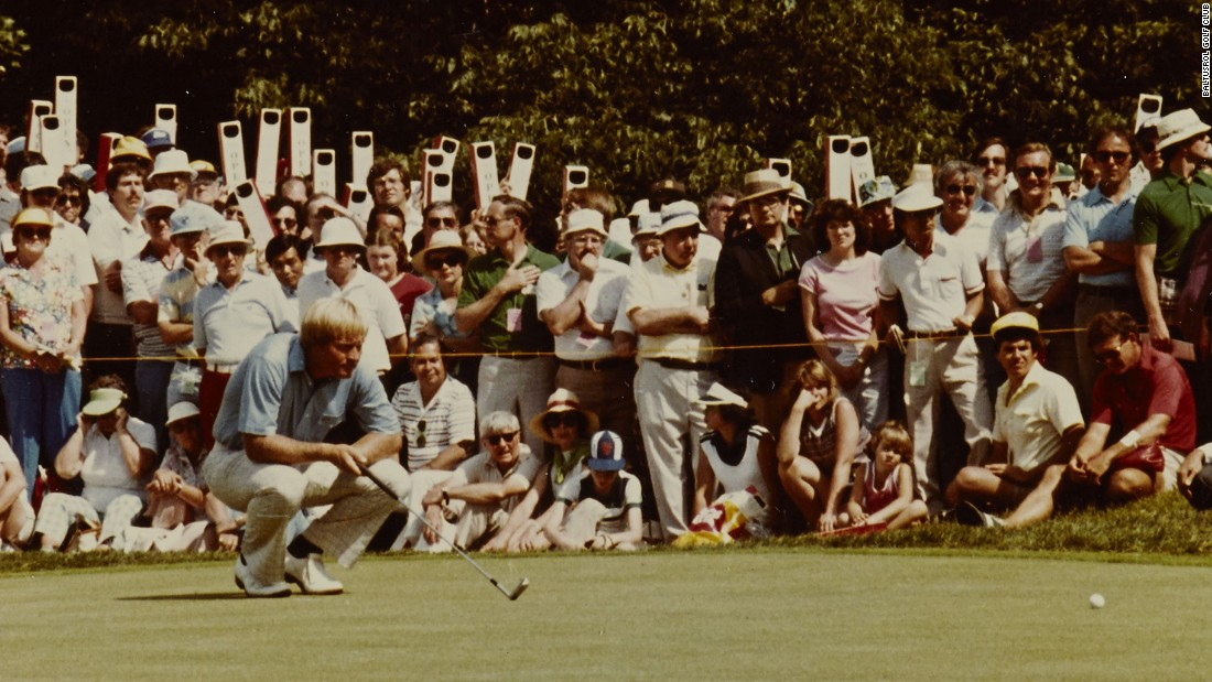 """In 1980, the Baltusrol galleries chanted """"Jack is Back"""" as Nicklaus won his fourth and final U.S. Open title, beating his own scoring record. Notice the periscopes used by fans to see the action."""