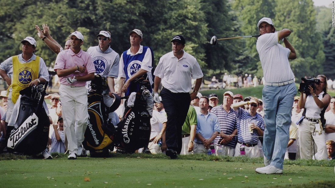 In 2005, Mickelson was grouped with Adam Scott (teeing off) and Sergio Garcia -- they are all again in the field for the 2016 event.