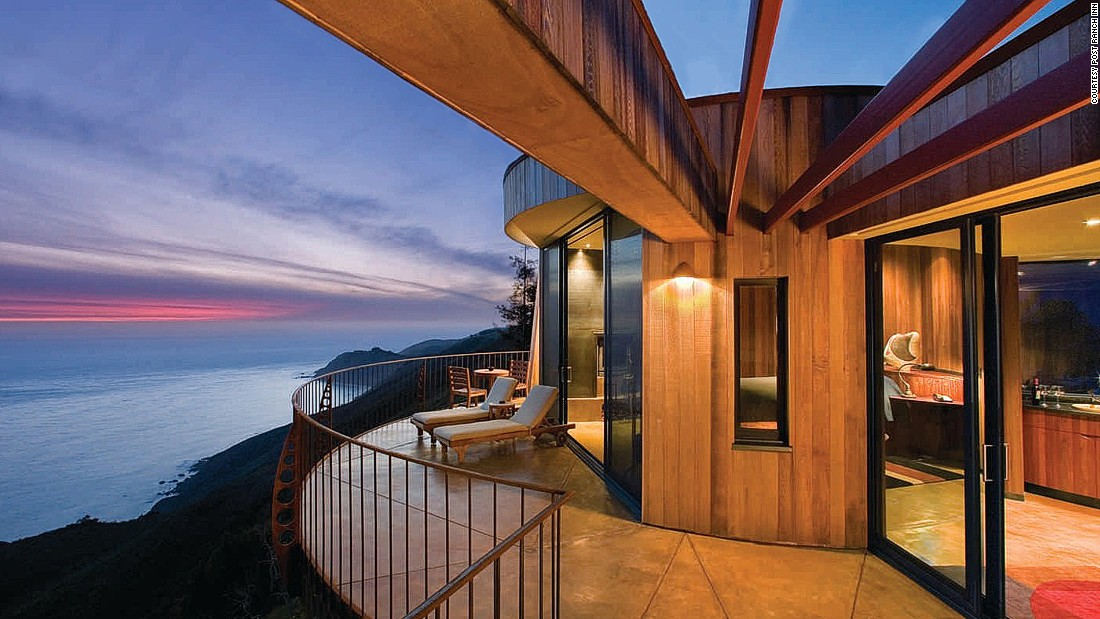 Post Ranch Inn's 39 standalone suites boast dramatic panoramas of the Big Sur coastline. The hotel has two hot clifftop basking pools, a heated swimming pool and an award-winning spa.