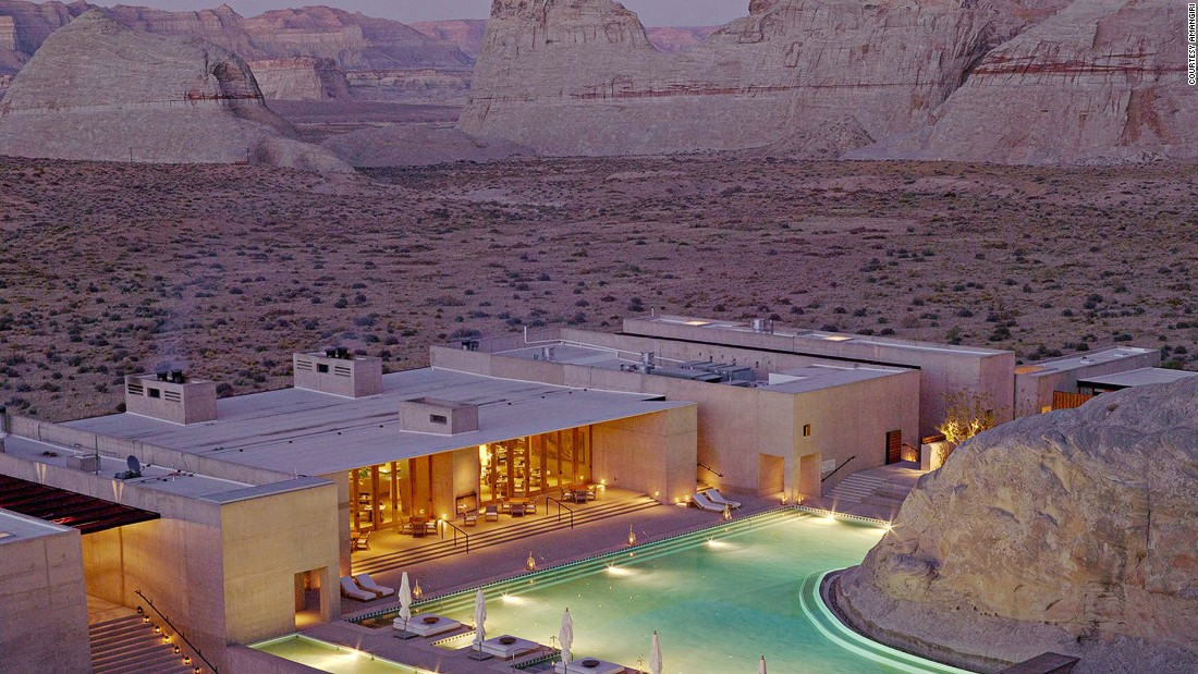 Concrete walls, rough timber furnishings and a muted brown color palette help Canyon Point, Utah's Amangiri Resort embrace its desert location in style.