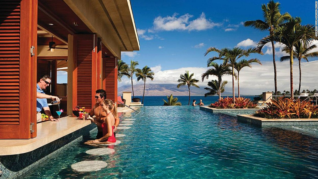 The adults-only infinity pool is a highlight at Four Seasons Resort Maui at Wailea. It features an underwater music system, a swim-up bar and unrivaled views over Wailea Beach.