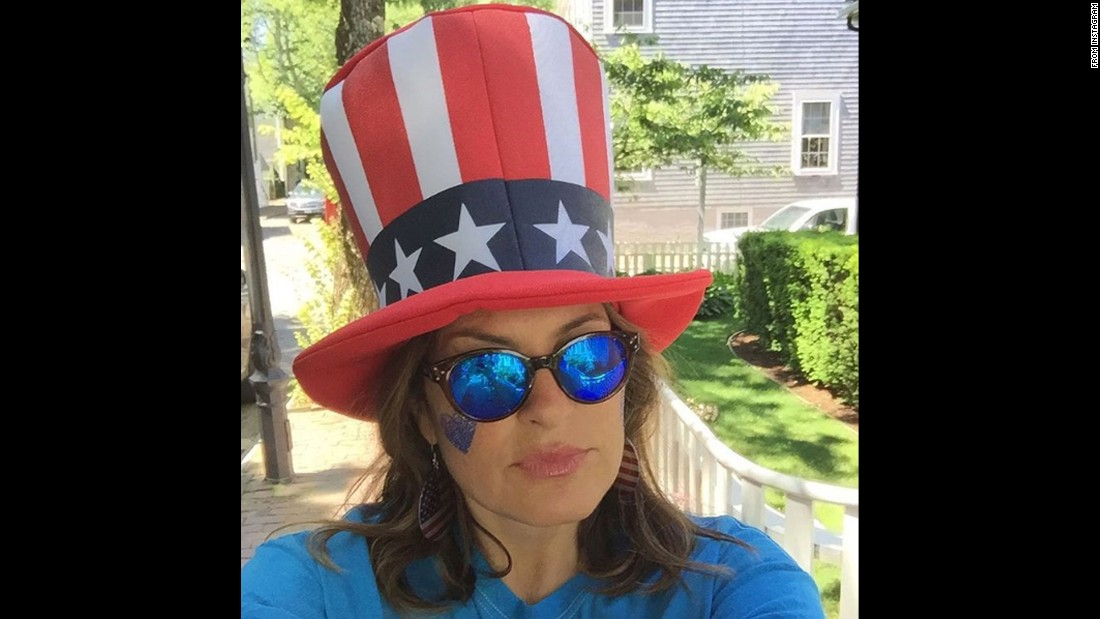 "Actress Mariska Hargitay wears a patriotic hat in this selfie she took on Independence Day. ""Happy, healthy, safe #FourthOfJuly to you all,"" <a href=""https://www.instagram.com/p/BHcq9LIjDtA/?hl=en"" target=""_blank"">she told her followers.</a>"