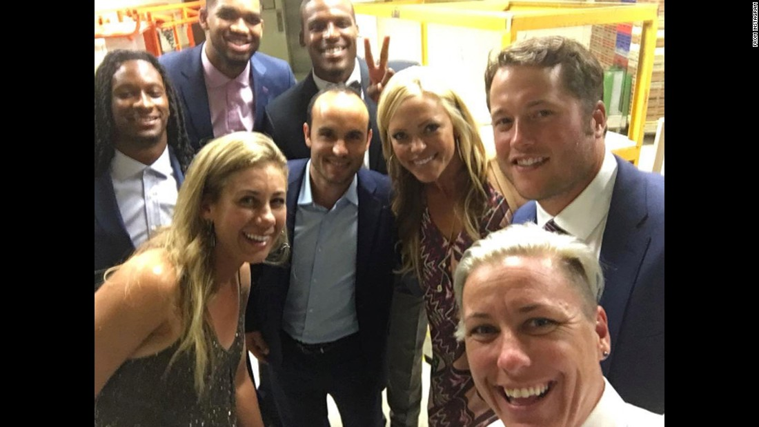 "Former soccer star Abby Wambach, bottom right, <a href=""https://www.instagram.com/p/BHyNyuuBwRz/"" target=""_blank"">snaps a selfie</a> with other famous athletes at the Gatorade Athlete of the Year Awards on Tuesday, July 12. Behind Wambach, from left, are NFL running back Todd Gurley, NBA basketball player Karl-Anthony Towns, beach volleyball player April Ross, NFL quarterback Cam Newton, former soccer star Landon Donovan, former softball star Jennie Finch and NFL quarterback Matthew Stafford."