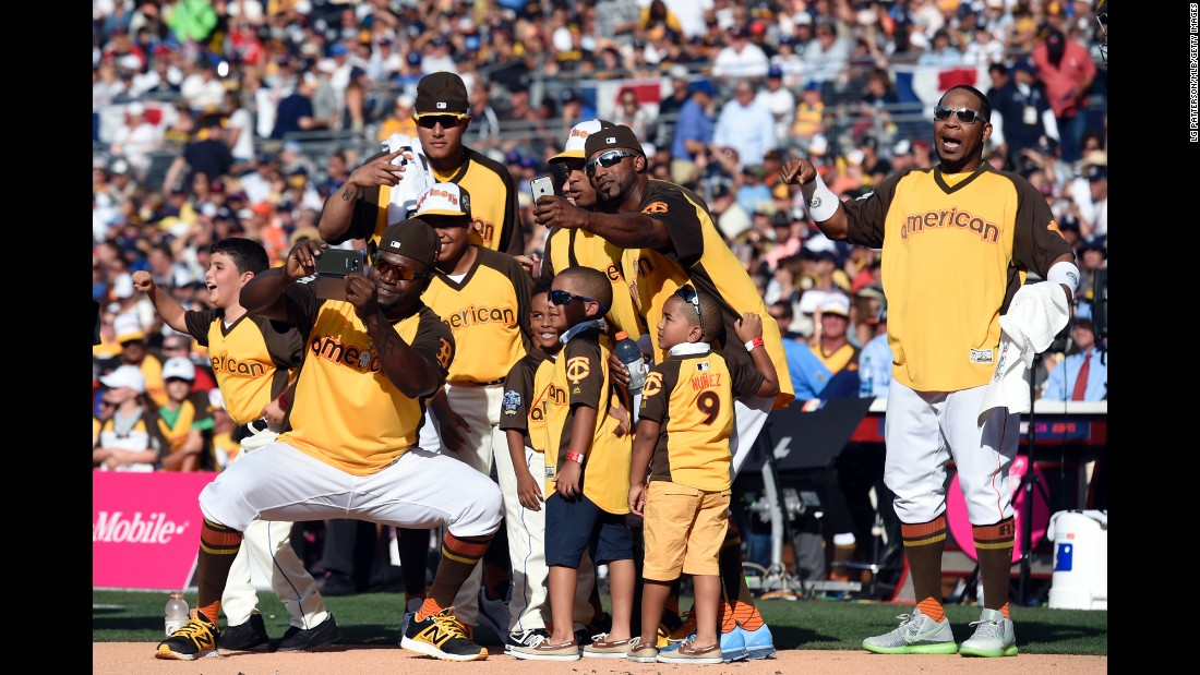 David Ortiz, front, takes a selfie with some of his fellow All-Stars and their children during the Major League Baseball Home Run Derby on Monday, July 11.