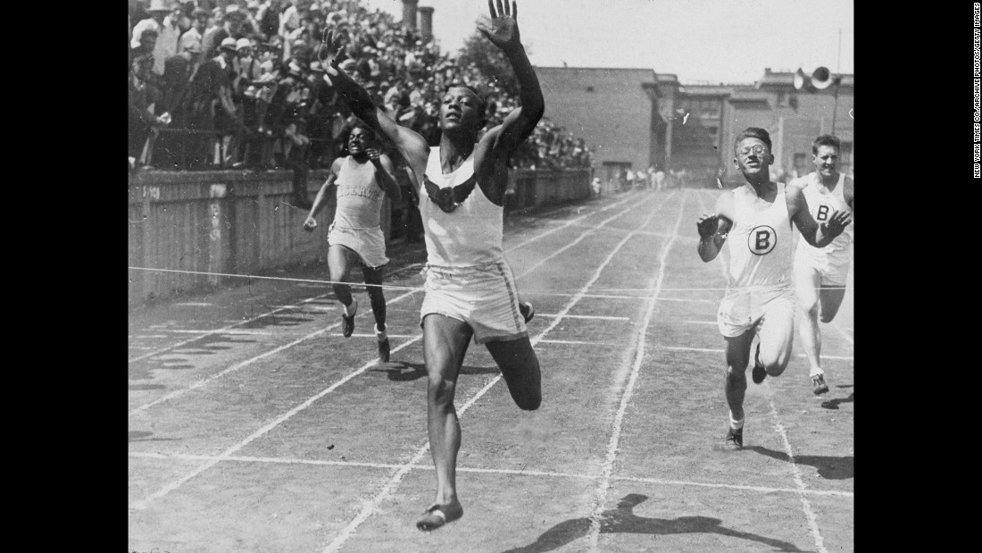 Owens wins a 100-meter race in high school in June 1932. Owens, the son of a sharecropper and grandson of slaves, was born in Alabama in 1913. His family moved to Cleveland when he was a child, and he went on to attend the Ohio State University.