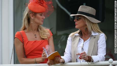 CHICHESTER, ENGLAND - JULY 26: Ladies enjoying the day at Goodwood on July 26, 2016 in Chichester, England. (Photo by Alan Crowhurst/Getty Images)