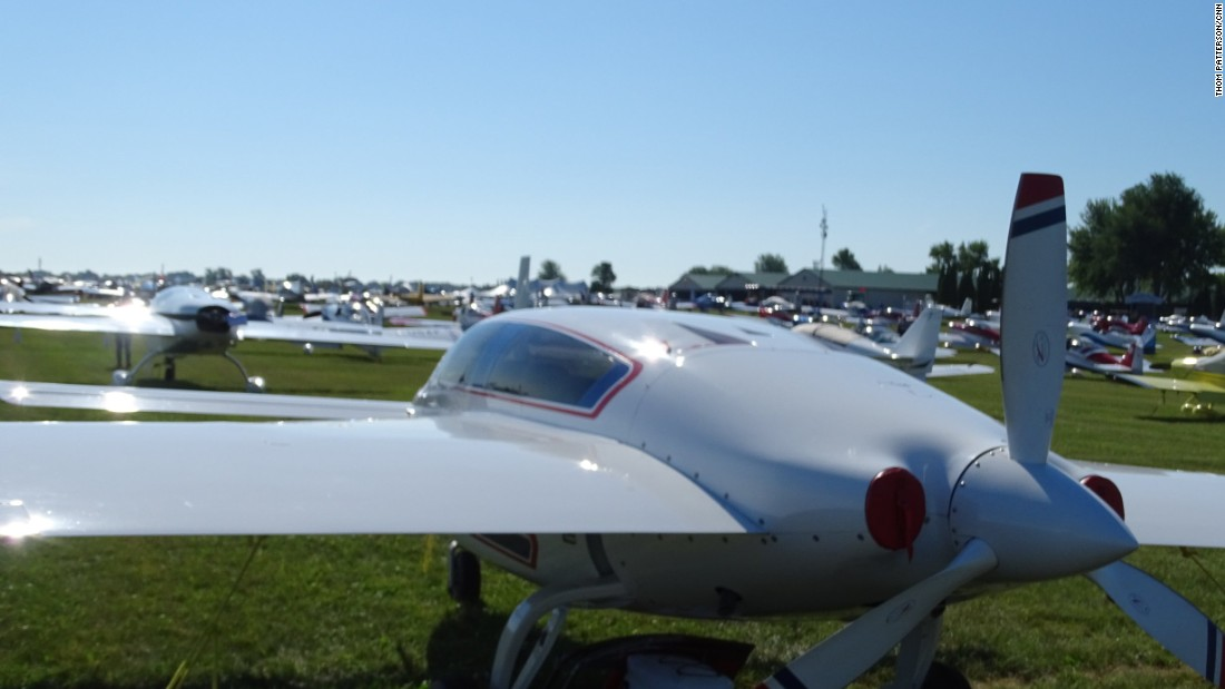 This 2007 kit experimental airplane is called Velocity XL-RG. It's based in Waukesha, Wisconsin. Note its rear propeller, which is designed to push the plane through the air -- unlike forward-mounted props, which pull their planes through the air.